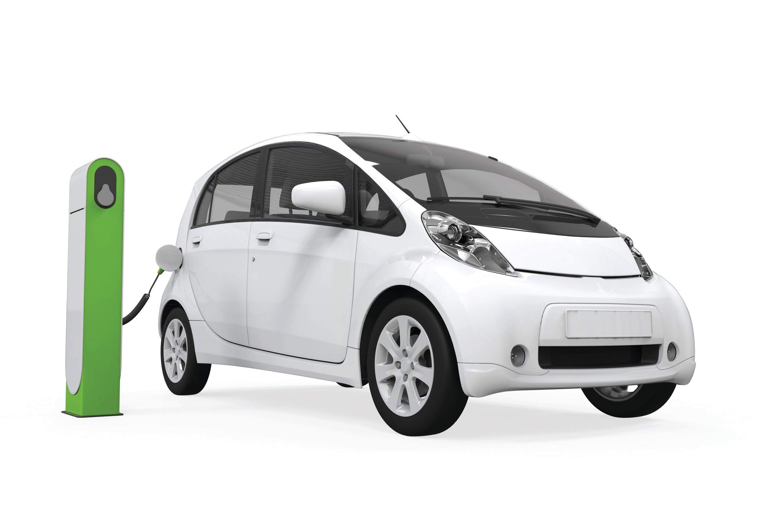 21459909 - electric car in charging station